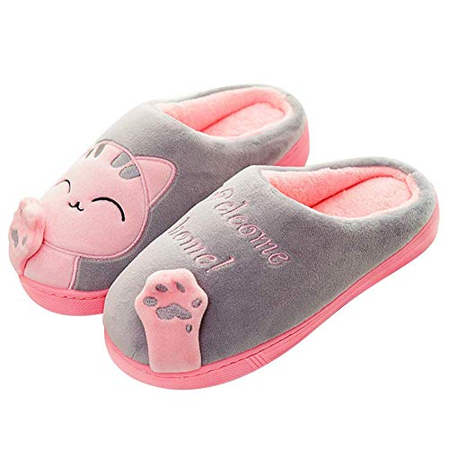 ee6b87481a8ce4 Schuhchan Women Plush Home Slippers Cute Cat Indoor Winter Slippers,Grey  Pink UK 5-