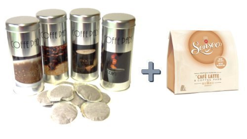 Senseo Café Latte + 4 Pad Dosen mit Motiven und 4 Padhebern