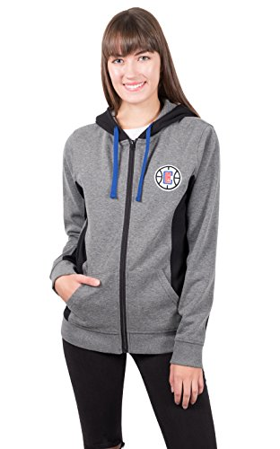 UNK Damen ful1485F NBA Dime Full Zip Fleece Hoodie Sweatshirt Jacke, Damen, FUL1485F, Heather Charcoal Nba-damen Sweatshirts