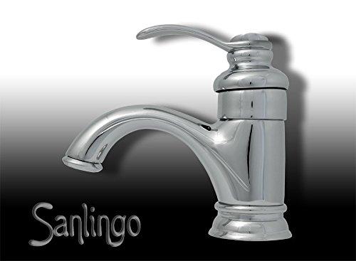 Preisvergleich Produktbild Retro Badezimmer Einhebel Bad Armatur Waschbecken Waschtisch Chrom Sanlingo