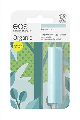 eos Organic Stick Sweet Mint Lip Balm, natürliche Lippenpflege, Beauty-Pflege für softe Lippen, erfrischender Lip Stick, Naturkosmetik, 1 x 4 g -