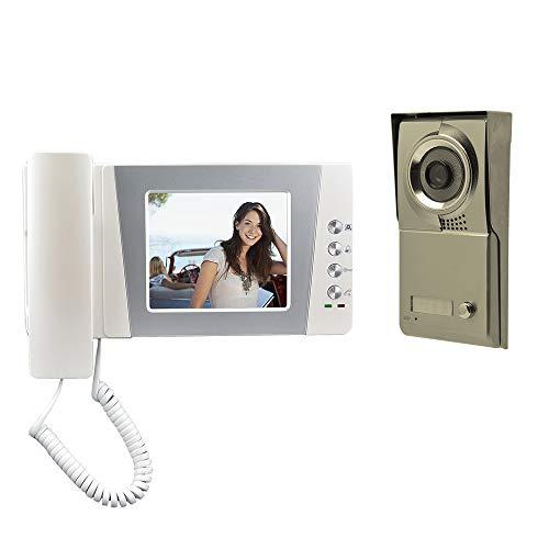 Nudito Kit Videocitofono Cablata Universale per Casa. Video Citofono Porta (1 X Monitor LCD da 4,3 Pollici, 1 X Telecamera Esterna in Lega di zinco a Infrarossi Impermeabile con Visione Notturna)