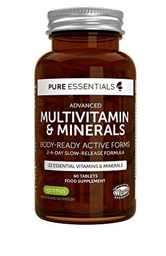 6 x Pure Essentials Fortgeschrittenes Multivitamin und Mineralien | Körpergerechte Aktivformel inklusive Folat/Folsäure | 2 Tabletten pro Tag | Veganes | 6x60 Tabletten