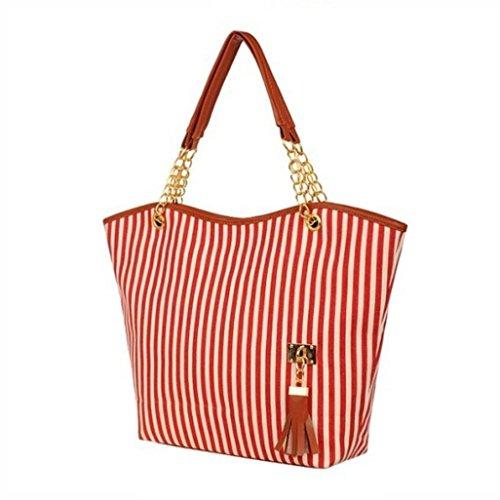 Xjp Fashion Elegant Women Canvas Striped Handbag Tote Purse Rot