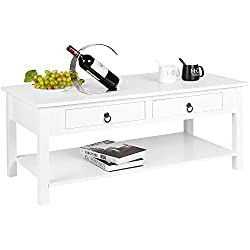 Homfa Coffee Table White Center Table for Living Room Modern Rectangular Table with Drawers and Low Shelf 110x53x45cm