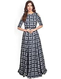 15c3333dcd SJ Trendz Women s Black American Crepe Printed Latest 2018 Party Wear Gown  Dress