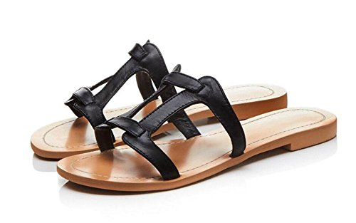 GLTER Donne Open Toe Flip Flop sandali sandali di estate essenziali H-Type Classic Leather scarpe piane H Pantofole Beach Pool scarpe Black