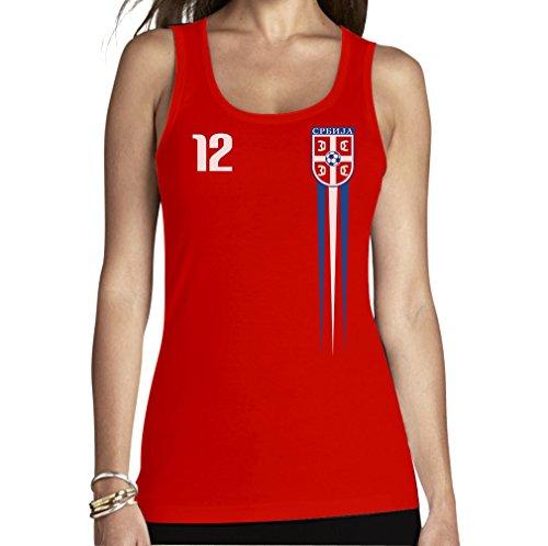 Shirtgeil Serbisches Fantrikot für Frauen zur WM 2018 Frauen Tank Top Small Rot