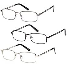GAMMA RAY READERS Multiple Pairs of Value Pack Stainless Steel Metal Reading Glasses by Gamma Ray Optics
