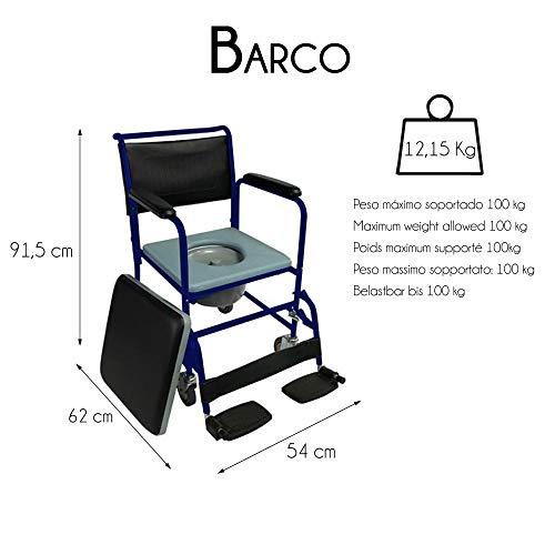 Mobiclinic Toilettenstuhl/Toilettenstuhl mit Rollen und Deckel, klappbare Fußstützen und abnehmbaren Armlehnen, Blau.