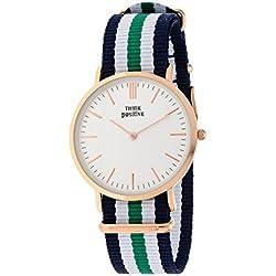 Señoras THINK POSITIVE® Modelo SE W92 Rosè Reloj Grande Del Plano De Acero De La Correa De Cuero Marrón Oscuro Hecho En Italia Y Cordora Color Azul, Blanco, Verde