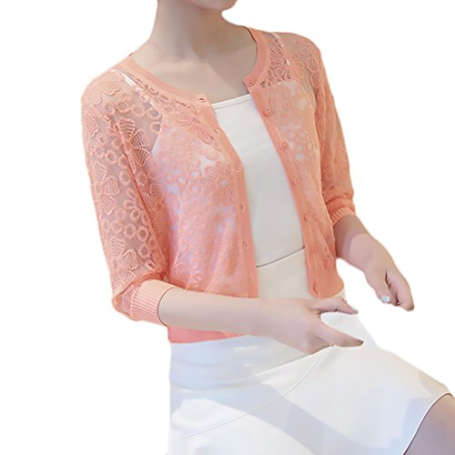 Cardigan Damen Frühjahr Sommer Bolero 3/4 Ärmel Rundkragen Perspektive Sommermantel Slim Fit Mode Perfect Pin-up Kurzmantel (Color : Pink,...