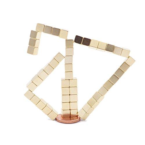 Brudazon - 50 mini magneti cubo da 5x5x5mm | oro | magneti in neodimio ultra potenti - grado magnetico n52 | magneti per modellismo, lavagne magnetiche | piccoli ed extra potenti