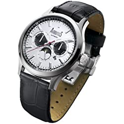 Arbutus Men's Automatic Watch with White Dial Analogue Display and Black Leather Strap AR509SWB