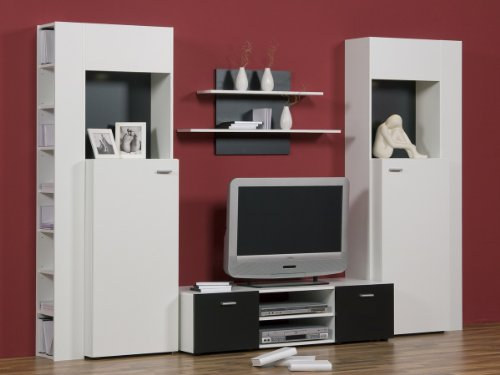 Wohnwand Weiß Schwarz - Top Design und Optik, Beleuchtung:mit Beleuchtung