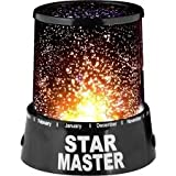 Everbuy ™ Star Master Colorful Romantic LED Cosmos Sky Starry Moon Beauty Night Projector Bed Side Lamp with USB Cable (Black)