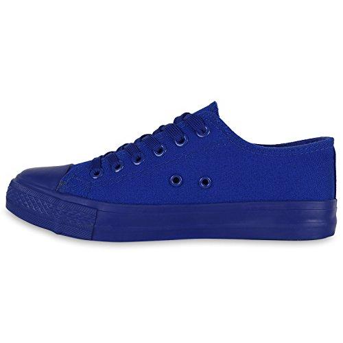 Damen Sneakers Stoffschuhe Trendfarben Schnürer Schuhe Blau