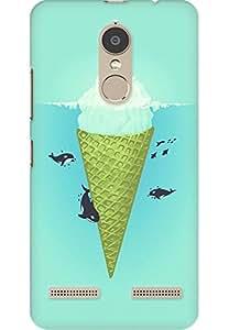 AMEZ designer printed 3d premium high quality back case cover printed hard case cover for Lenovo K6 Power (Whale green sea icecream iceberg )