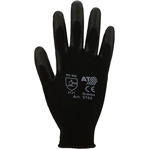 Asatex 3709 Feinstrick-Handschuhe mit Soft-PU-Beschichtung, Schwarz, 10