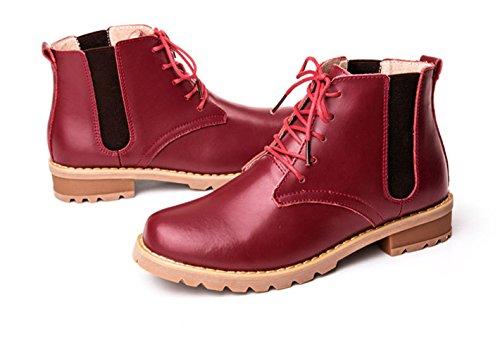 Damen Frühling Sommer Glattleder Schöne Retro Stil Schnüren Kurzschaft Flach Martin Schuhe Sneakers Rot