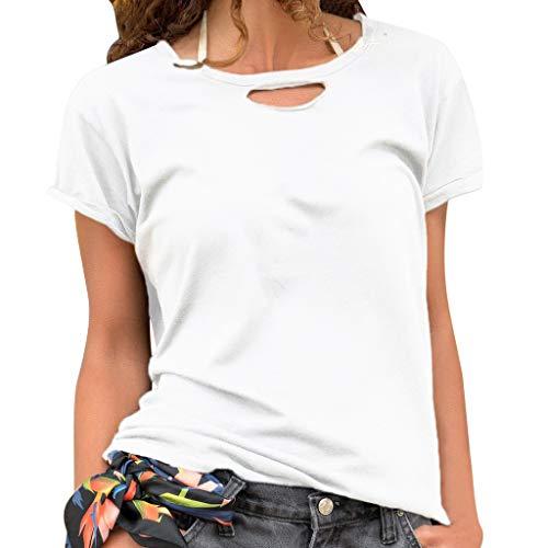 Frauen Kurzarm T-Shirt,Einfarbiges kurzärmliges Oberteil Lässig bedrucktes T-Shirt mit kurzen Ärmeln Taschen Kurzarmhemd Lässige Tunika Tops Bluse M-3XL -