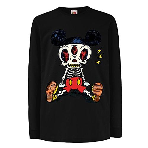 lepni.me Kinder-T-Shirt mit langen Ärmeln Skelett einer Maus (3-4 years Schwarz (Kostüm Zwei Am Gesicht Besten)