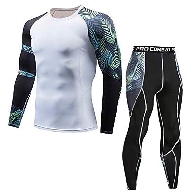POIUDE Ausverkauf Herren Fitness - Funktionsshirts Kompressions Schnelltrocknende Langarm Fußball Bodywear Layer Pants Set