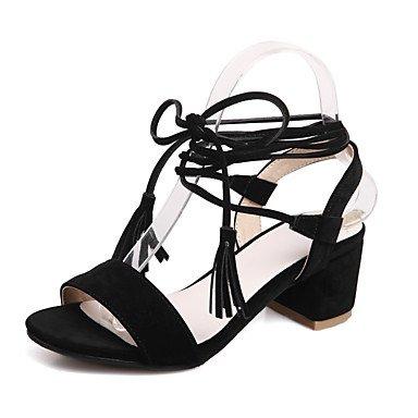 LvYuan Sandali-Ufficio e lavoro Formale Casual-Alla schiava Club Shoes-Quadrato-Felpato-Nero Rosso Beige Red