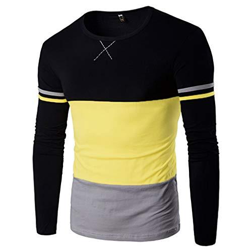 JUTOO Der Herbst-Sieger der Männer, der langärmlige Pullover-Pullover spitzt, Spitzenbluse T-Shirt(Gelb,XX-Large)