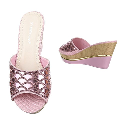 Pantoletten Damen Schuhe Jazz & Modern Keilabsatz/ Wedge Keilabsatz Ital-Design Sandalen / Sandaletten Rosa