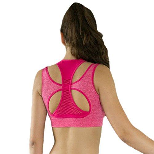 Ueasy Sport-BH mit 2 Schichten, nahtlos, optimaler Tragekomfort, für Yoga geeignet Rot - Rosarot
