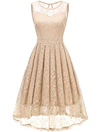 ee4dbe8cb029ca Gardenwed Damen Kleid Retro Ärmellos Kurz Brautjungfern Kleid Spitzenkleid  Abendkleider CocktailKleid Partykleid