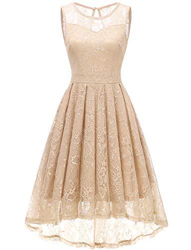 Gardenwed Damen Kleid Retro Ärmellos Kurz Brautjungfern Kleid Spitzenkleid Abendkleider CocktailKleid Partykleid Champagne S