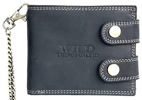 Herren Dunkelgraues Leder Geldbörse Wild mit einer 50 cm langen Kette und Karabinerhaken -