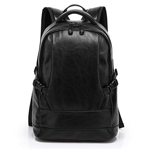 """Preisvergleich Produktbild BAOSHA BP-06 PU Leder Rucksack Damen 15"""" Laptoprucksack College Schultaschen Reisetasche Daypacks Uni Backpack für Outdoor Sports Freizeit Schwarz"""