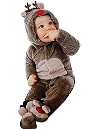 Landove - Mono de Navidad para bebés, niña, unisex, de franela, de manga larga con capucha. Mono de reno, pijama de animales, disfraz