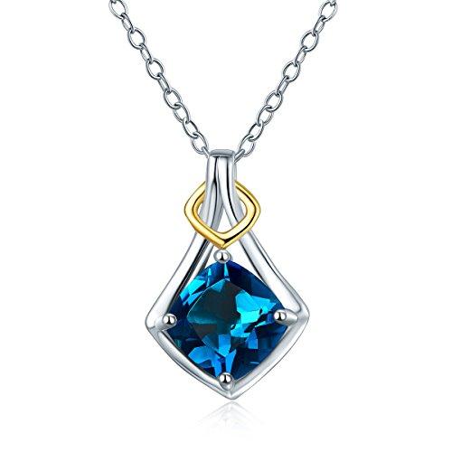 hutang Natural Edelstein London Blau Topas Anhänger Halskette massiv 925Sterling Silber Zweifarbig Edelstein Schmuck Gratis Kette 2017 (Halskette Blau London)
