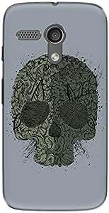 The Racoon Lean printed designer hard back mobile phone case cover for Moto G (1st Gen). (Gray Skull)