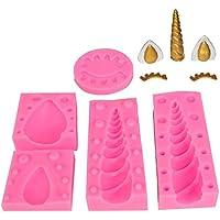 Molde de silicona para tartas de unicornio cuerno orejas y ojos molde Set fondant chocolates decoración