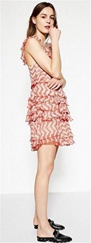 Sexy Ohne Arm ärmelloser Blumenmuster Multi Tiered Rüschensaum Minikleid Skaterkleid A Linien A Linie Ausgestellte Dress Kleid Weiß Red Weiß Rot