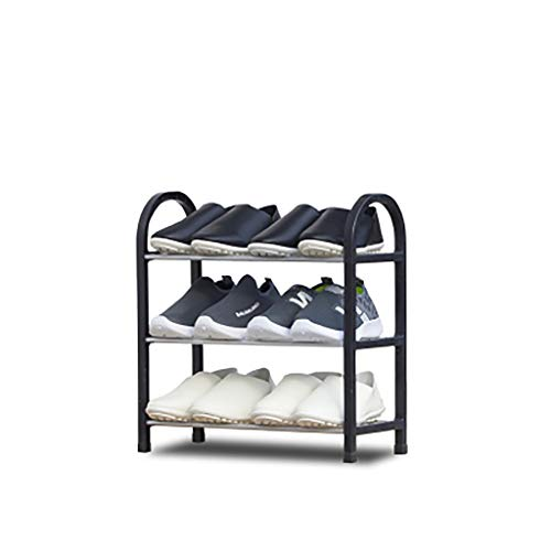 Kunststoff 3-tier Shoe Rack,haltbar Stabil Eingangsbereich Lagerung Schuhregal Ständigen Regale Für Schuhe Organizer-schwarz 42x19x44cm(17x7x17inch) - 3-tier Shoe Rack