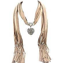 2c8e7df88ef8 Tonsee® Collier de pierre gemme femmes Coeur Écharpe Lady Tassel Echarpes  chaudes