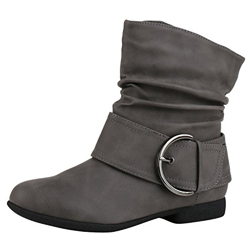 Napoli-fashion Donna Slip Boots Stivaletti Allacciati Invernali Jennika Grigio