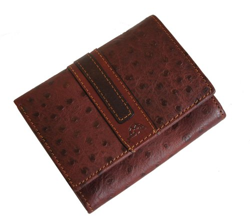 Tony Perotti TP27300 Geldbörse aus italienischem Straußenleder, Braun - Straußenleder Handtasche