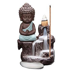 Handgemachte Rauch Räucherstäbchenhalter, Rückfluss Räuchergefäß Halter Keramik Wasserfall für Innenministerium-Schlafzimmer-Yoga-Dekoration mit 10PCs Rückfluss Räucherkegel,Blau