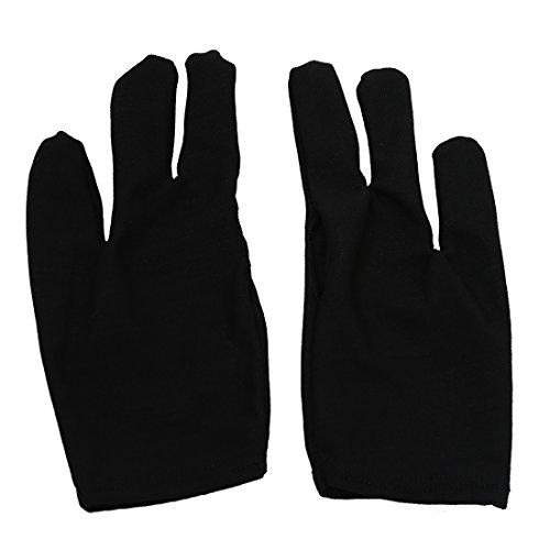 TOOGOO(R) 10 Stk. Schwarz 3 Finger Pool Schuetzen Billard Handschuh