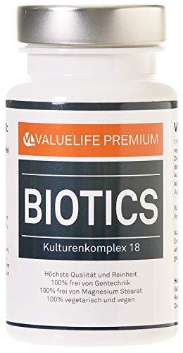 VALUELIFE Biotics Kulturen Komplex: 18 aktive Bakterienkulturen in magensaftresistenten Darmkur Kapseln - Bifidobakterium, Lactobacillus, Coagulans - 2 Monatspackung