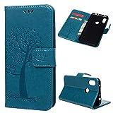 Edauto Hülle Kompatibel für Xiaomi Redmi Note 6 Pro Leder Case Schutzhülle Wallet Flipcase Eule Baum PU Handyhülle Handytasche Geldbörse Karteneinschub Magnetverschluß Ständer Klapptasche Tasche Blau