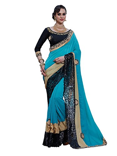 Kjp Villa Women\'s Satin Silk Blue Free Size Embroidery Saree With Blouse Pics Zareen-5010