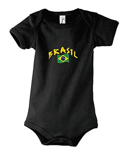 Supportershop Body Bebé Brasil fútbol negro, Body bébé Brésil noir, negro, FR : 0-3 mois (Taille Fabricant : 0-3 mois)